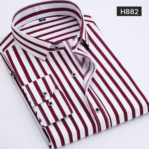 Casual Long Sleeved Plus Size Shirt Classic Striped Dress shirts