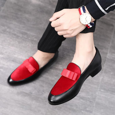 \ Gentlemen Bowknot Wedding Dress Male Flats Casual Slip on Shoes Black Patent Leather Red Suede Loafers Men Formal Shoes