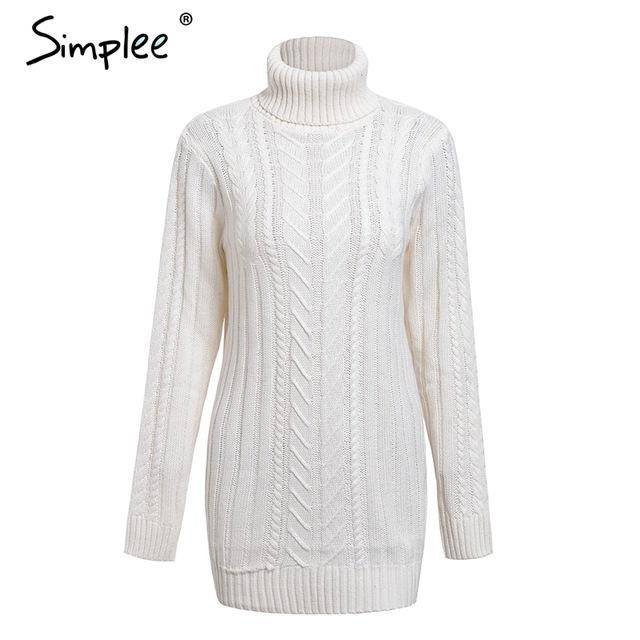 Casual twist turtleneck knitted sweater dress