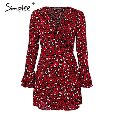 Vintage leopard Ruffles flare sleeve bodycon dress