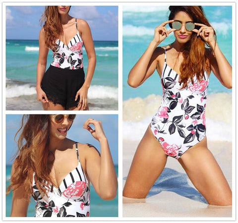 Floral Printing One-piece Adjustable Push Up Swimwear