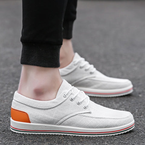 New Arrival  Comfortable Casual Shoes Mens Canvas Shoes  Lace-Up Brand Fashion Flat Loafers Shoe