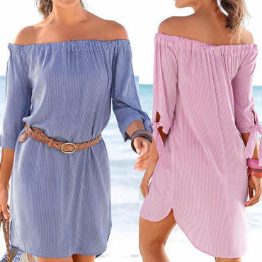 Off Shoulder Half Sleeve Striped Mini Dress