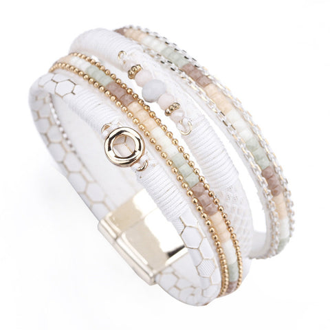 White Leather Rhinestone Crystal Metal Charm Wide bracelet & bangle