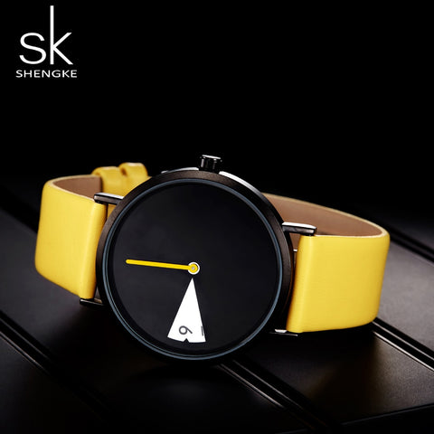 New Yellow Leather Strap Casual Style Women Watches