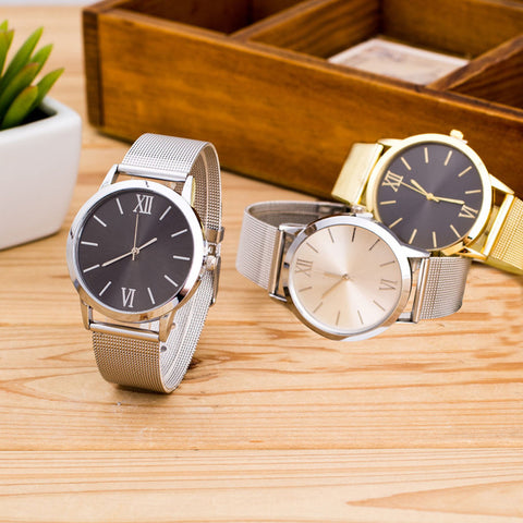 Women Ladies Silver Stainless Steel Mesh Band Wrist Watch