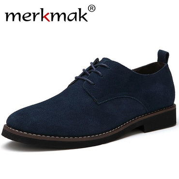 Men Casual Leather Shoes Oxfords Suede Leather Men's Flats  Fashion  Classic Shoes