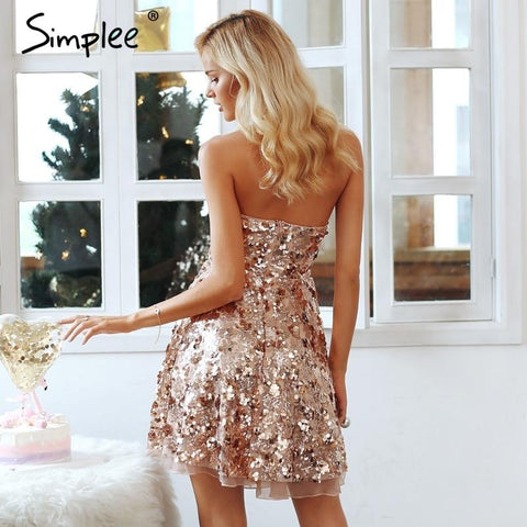 Simplee Shiny sequin backless sexy