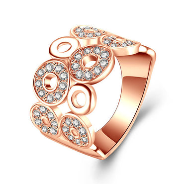Zircon Inlay Rose Gold Color Rings