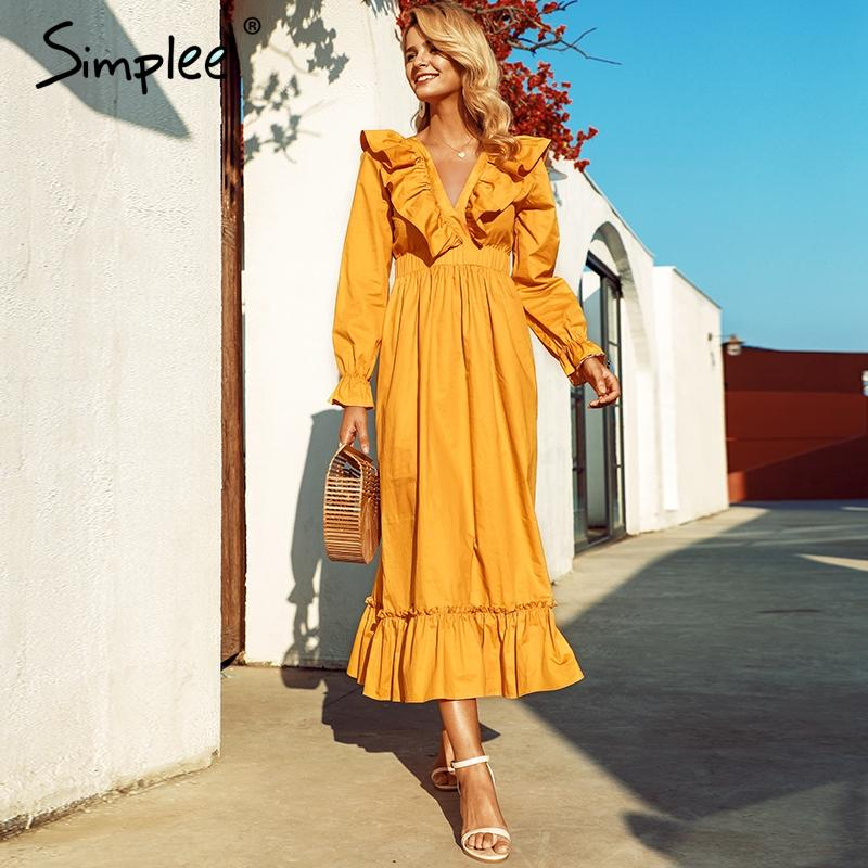 Ruffle v neck sleeve solid cotton midi dress