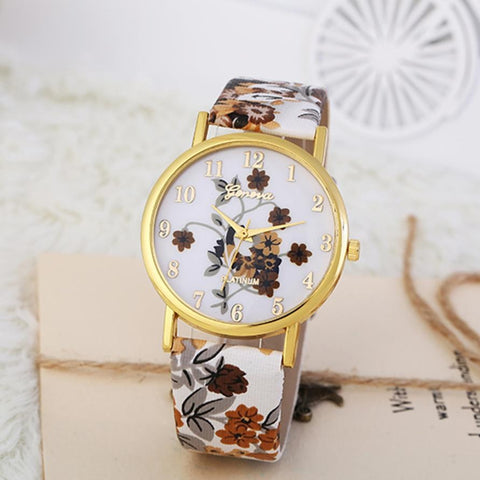 Fashion Women Leather Band Analog Quartz Wrist Watch