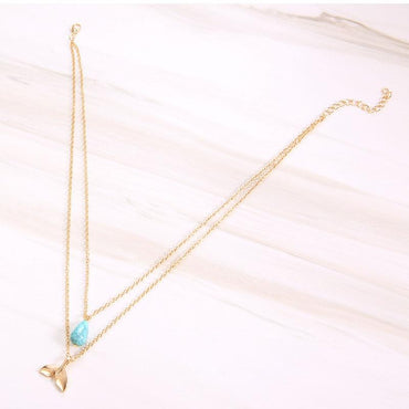 Fashion Classic Blue Faux Marble Water Drop Pendant Necklace