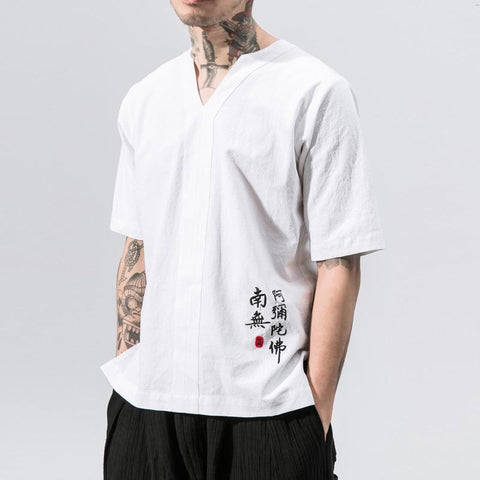 New style fashion white shirt men summer linen cotton embroidery short-sleeve tops