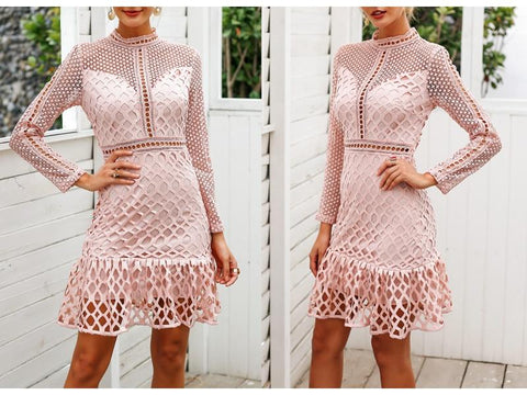 Elegant hollow lace Sweet slim ruffle dress