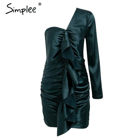 Simplee Elegant ruffles satin olive green women dress