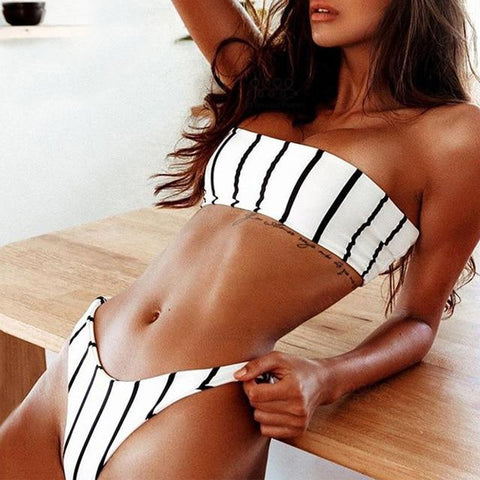Striped Bandeau Bikini High Leg Bikini Push Up Sexy Strapless Thong Bikiny