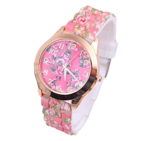 Women Leisure Time Rose Analog Silica Gel Wrist Watch
