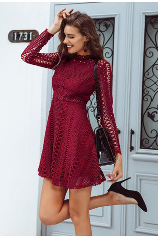 Simplee Lace red sexy short dress