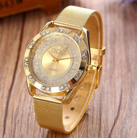 Golden Metal Mesh Women Quartz Wrist Watch New Fashion Casual Crystal Ladies Watches