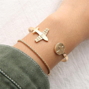 2 Pcs/set Women's Fashion Temperament Airplane bracelet