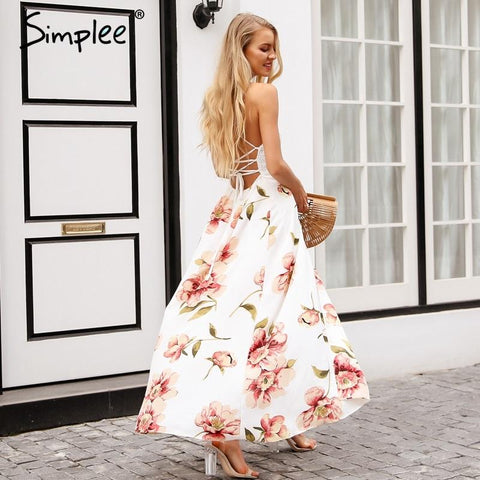 Sexy strap hollow out lace long maxi dress