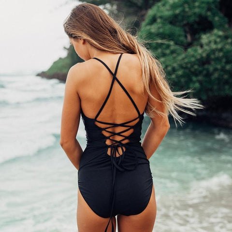Sexy One Piece Crochet Bandage Cut Out Bikini
