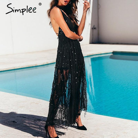 Sexy sequin lace mesh backless  long maxi dress