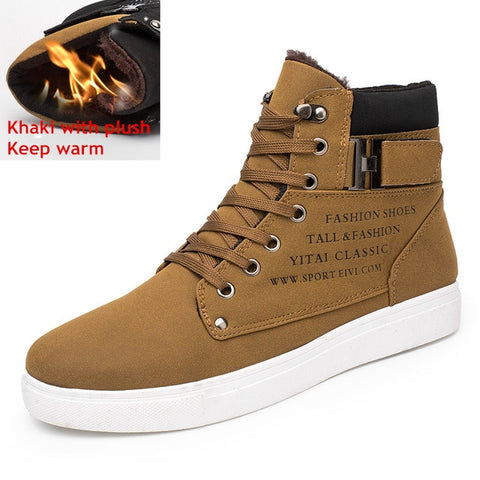 Hot Men Boots Fashion Warm Winter Snow Boots Men shoes Leather Footwear