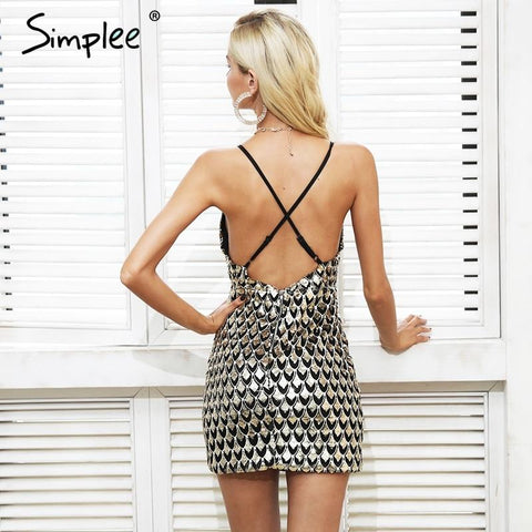Sexy sequin v neck backless zipper bodycon dress