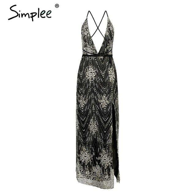 Simplee Sexy sequin party dress women