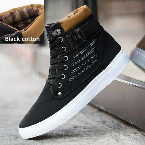 Hot Men Shoes Fashion Autumn Winter Men Snow Boots Leather Footwear  New High Top Canvas Casual Shoes Men sneakers