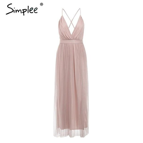 Simplee Mesh pink lace women dress
