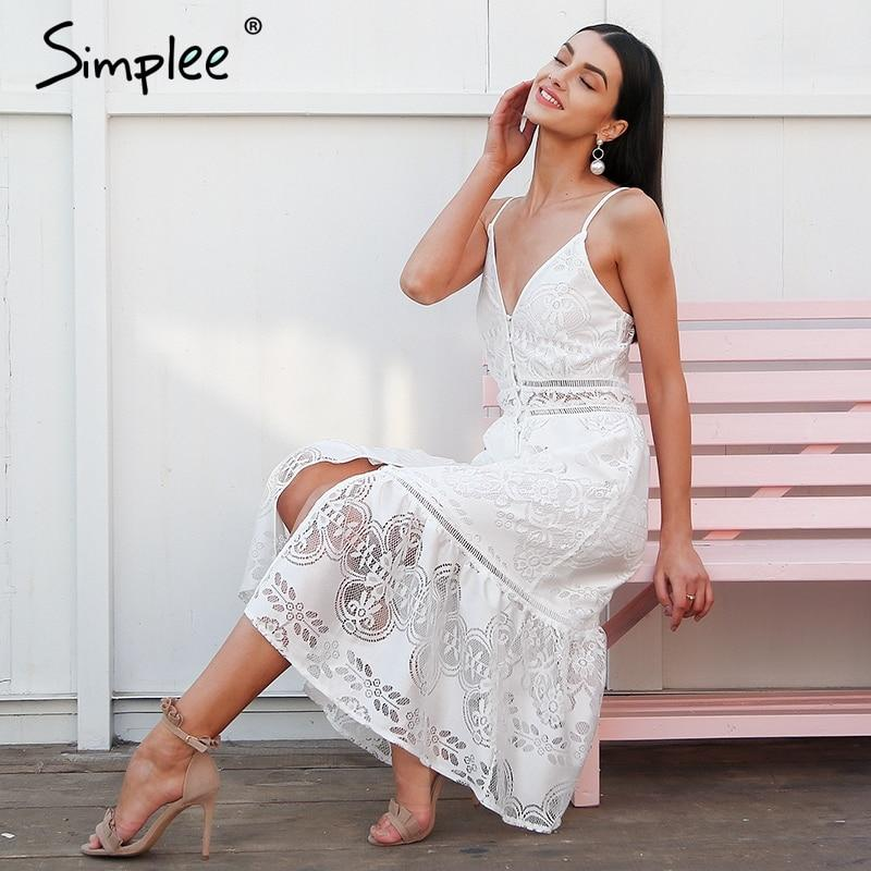 Elegant strap long V neck button sexy lace maxi dress