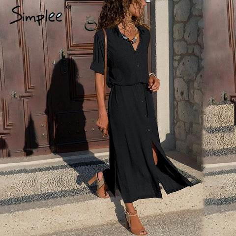 Simplee Casual button long summer dress
