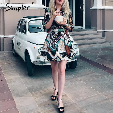 Elegant print long sleeve chiffon shirt dress
