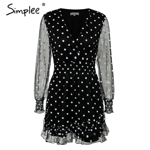 Sexy black mesh V neck ruffled polka dot mini dress