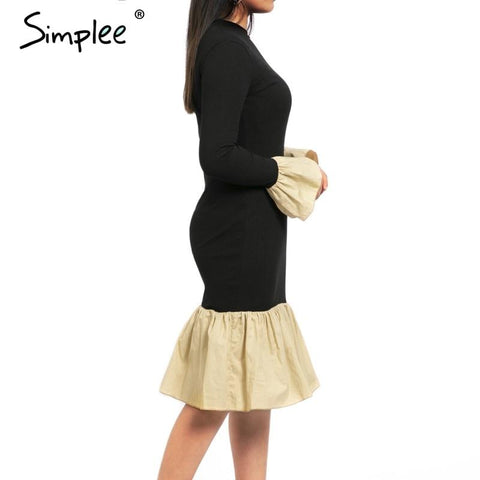 Turtleneck knitted dress women