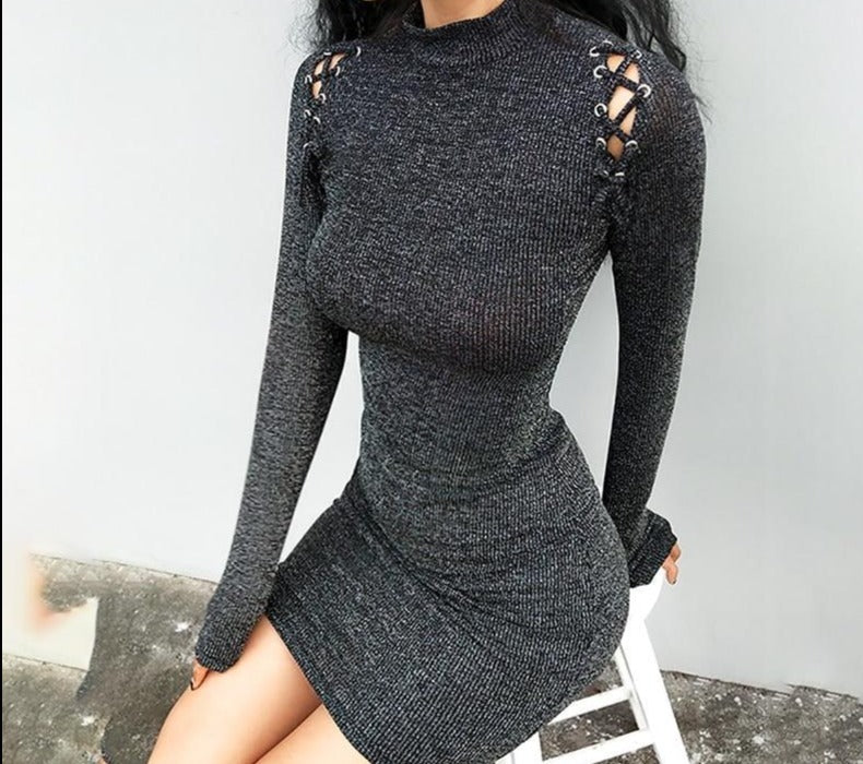 Sexy knitted lace up bodycon  dress