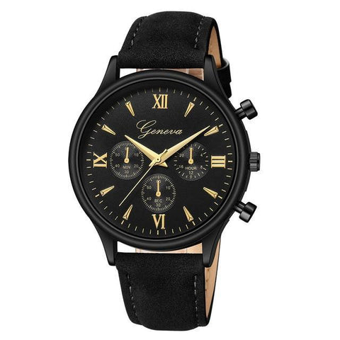 Mens Watch Fashion Geneva Alloy Synthetic Leather Analog Quartz Sport Watch