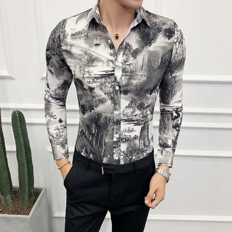 Long Sleeve Slim Fit Night Club Party Dress Shirts