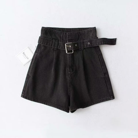 High Waist Jeans Shorts Streetwear Vintage Cotton Shorts Belted Blue Black Sexy Denim Shorts