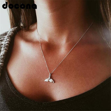 Whale Tail Pendant Boho Necklace  Fishtail Choker
