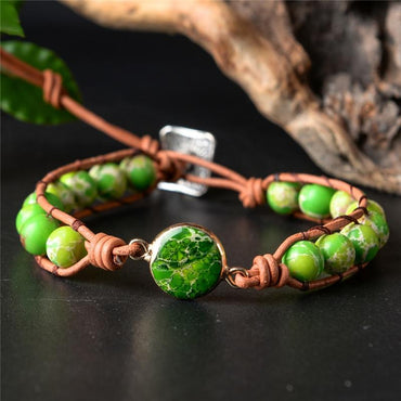 Wrap Bracelets Natural Stones  Leather Rope  Boho