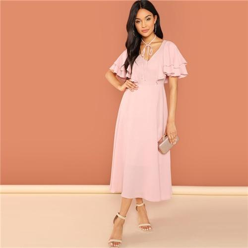 Pink Party Tiered Layer Tie Neck Flutter Sleeve Dress