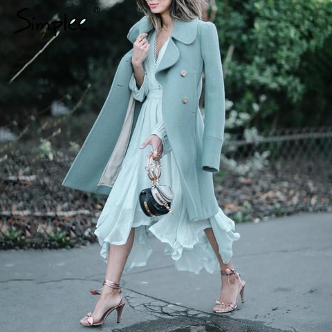 Elegant mint green long sleeve chiffon dress