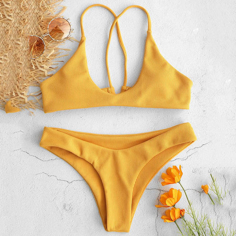 Ribbed Criss Cross High Cut Bikini Set