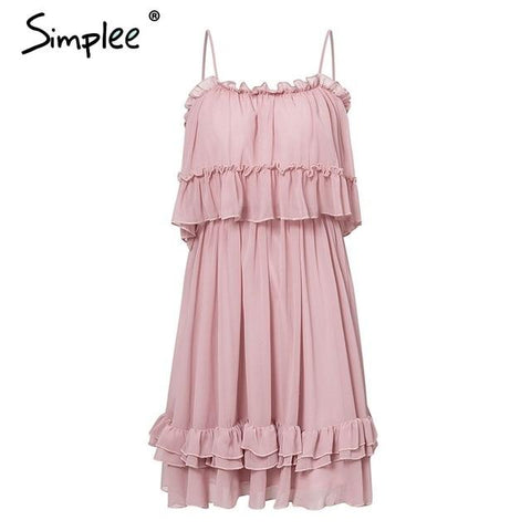 Elegant ruffle off shoulder Spaghetti strap dress