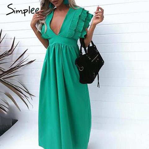 Elegant v neck Ruffles high waist maxi dress