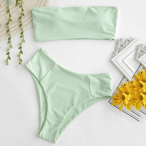 Bandeau High Cut Two Piece Bikini Set