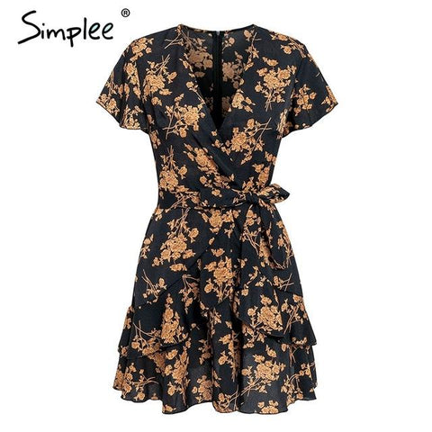 Elegant floral print V neck short sleeve mini dress